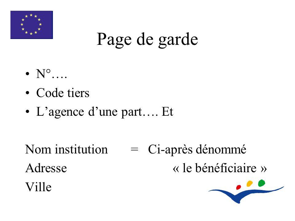 Page de garde N°…. Code tiers Lagence dune part….