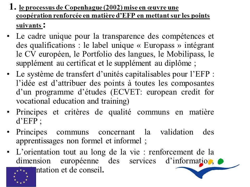 1. le processus de Copenhague (2002) mise en œuvre une coopération renforcée en matière dEFP en mettant sur les points suivants : Le cadre unique pour