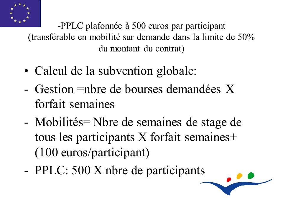 -PPLC plafonnée à 500 euros par participant (transférable en mobilité sur demande dans la limite de 50% du montant du contrat) Calcul de la subvention globale: -Gestion =nbre de bourses demandées X forfait semaines -Mobilités= Nbre de semaines de stage de tous les participants X forfait semaines+ (100 euros/participant) -PPLC: 500 X nbre de participants