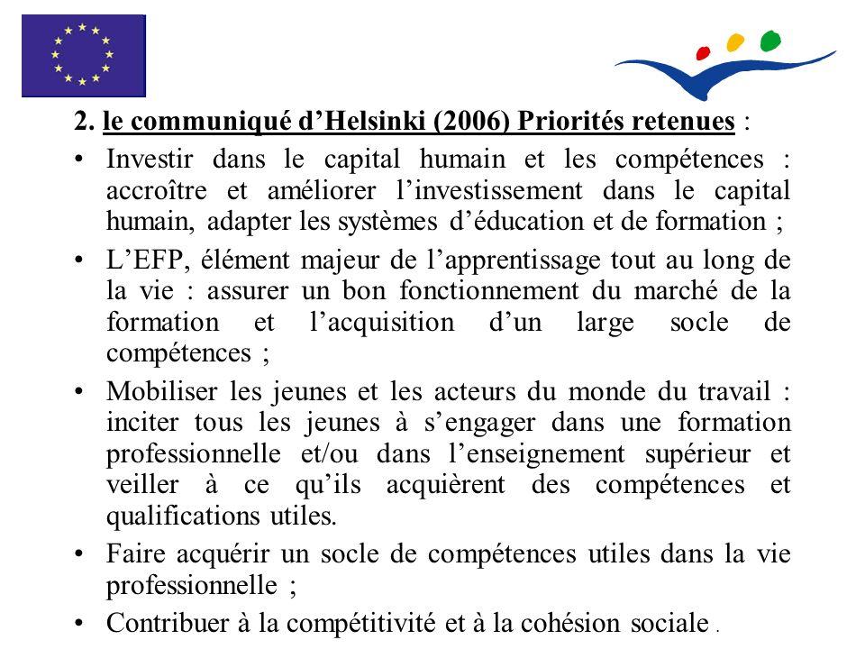 2. le communiqué dHelsinki (2006) Priorités retenues : Investir dans le capital humain et les compétences : accroître et améliorer linvestissement dan