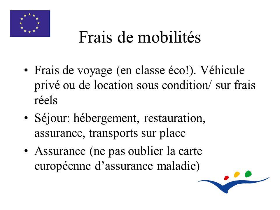 Frais de mobilités Frais de voyage (en classe éco!).