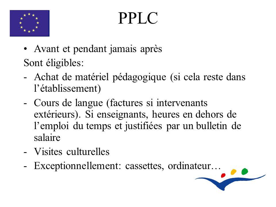PPLC Avant et pendant jamais après Sont éligibles: -Achat de matériel pédagogique (si cela reste dans létablissement) -Cours de langue (factures si intervenants extérieurs).