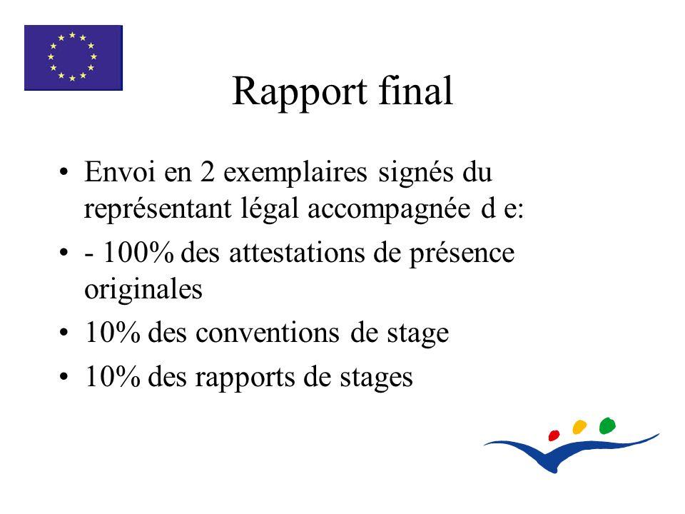 Rapport final Envoi en 2 exemplaires signés du représentant légal accompagnée d e: - 100% des attestations de présence originales 10% des conventions de stage 10% des rapports de stages