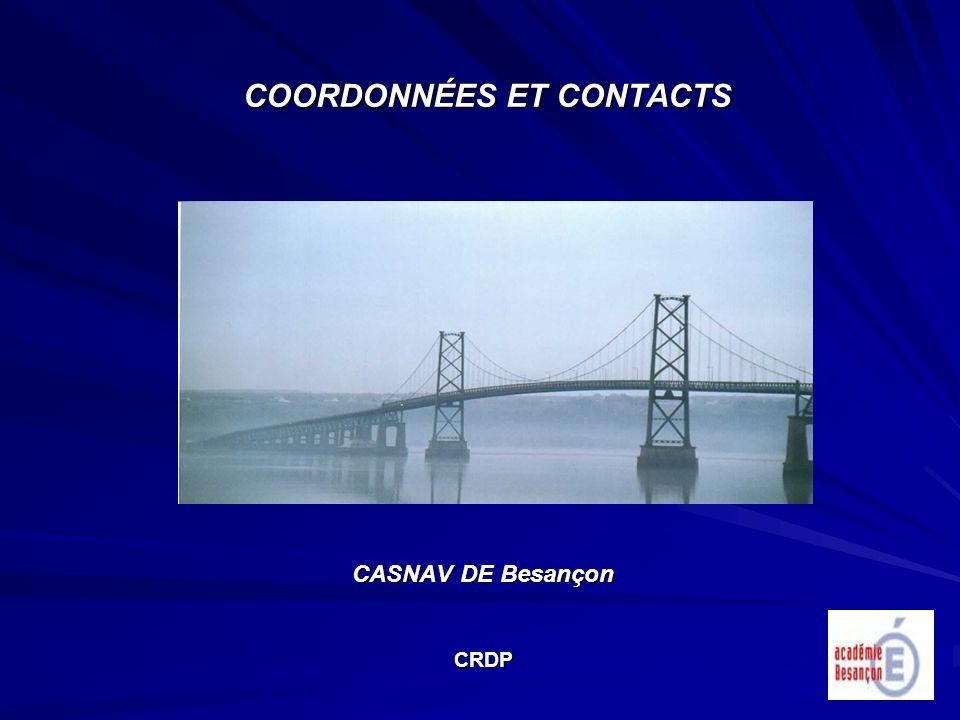 COORDONNÉES ET CONTACTS CASNAV DE Besançon CRDP