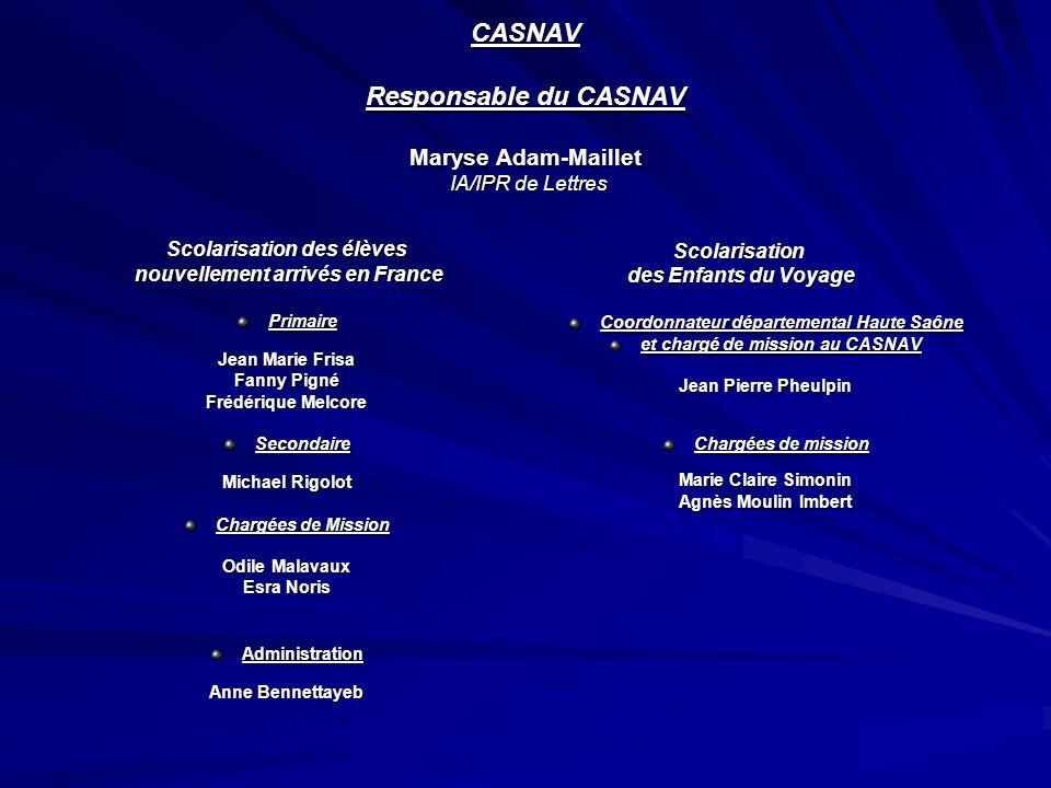 CASNAV Responsable du CASNAV Maryse Adam-Maillet IA/IPR de Lettres Scolarisation des élèves nouvellement arrivés en France nouvellement arrivés en Fra