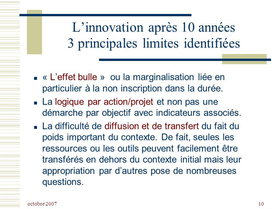 octobre 2007 10 Linnovation après 10 années 3 principales limites identifiées « Leffet bulle » ou la marginalisation liée en particulier à la non inscription dans la durée.