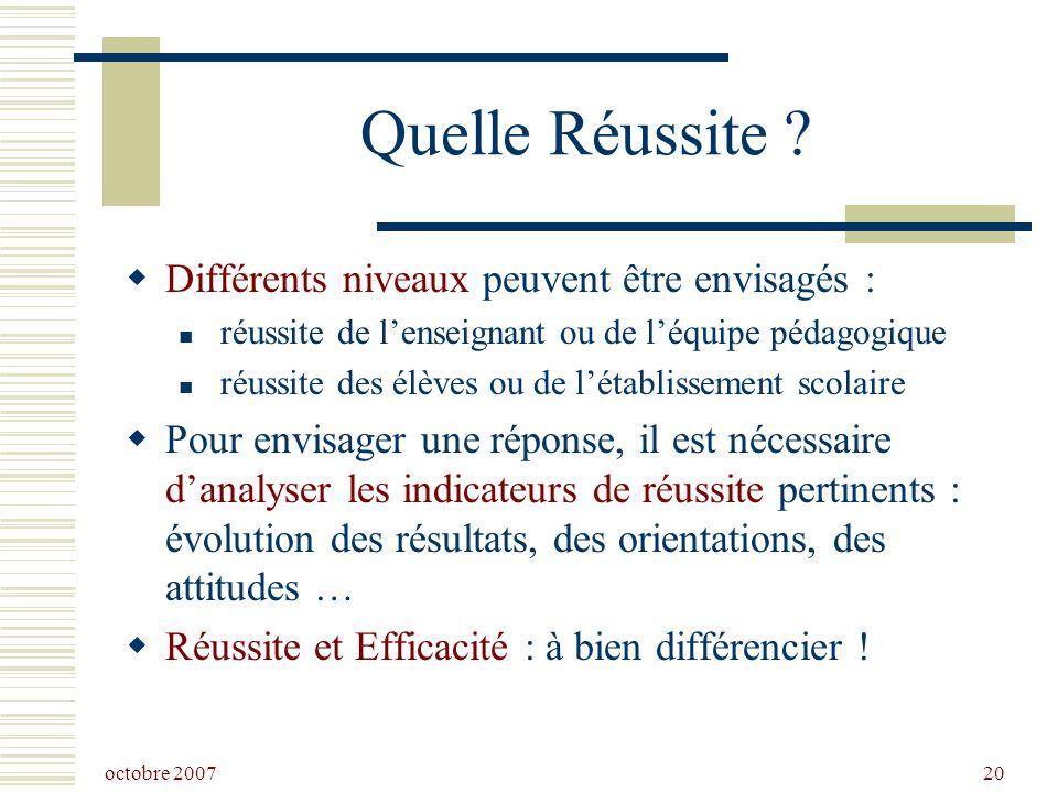 octobre 2007 20 Quelle Réussite .