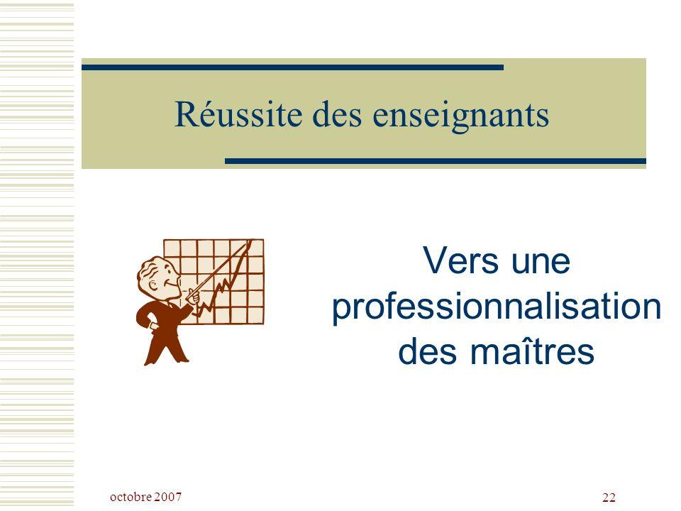 octobre 2007 22 Réussite des enseignants Vers une professionnalisation des maîtres