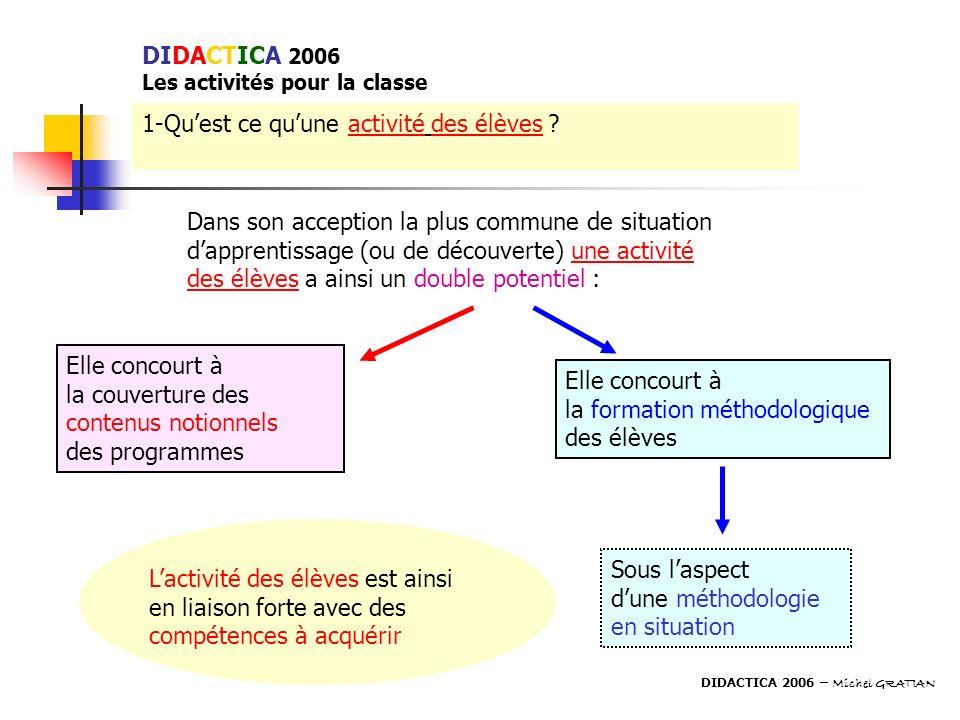 DIDACTICA 2006 Les activités pour la classe 1-Quest ce quune activité des élèves ? Dans son acception la plus commune de situation dapprentissage (ou