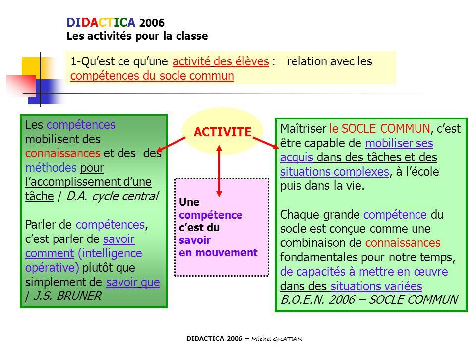 DIDACTICA 2006 Les activités pour la classe 1-Quest ce quune activité des élèves : relation avec les compétences du socle commun Les compétences mobil
