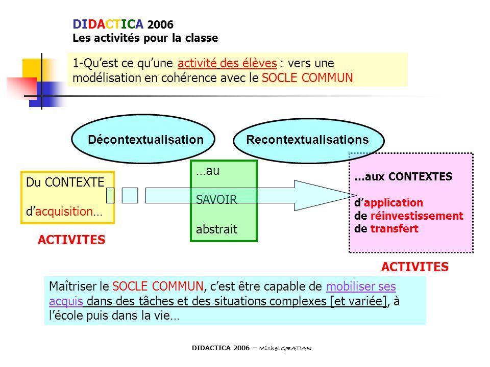 1-Quest ce quune activité des élèves : vers une modélisation en cohérence avec le SOCLE COMMUN Du CONTEXTE dacquisition… …au SAVOIR abstrait …aux CONT
