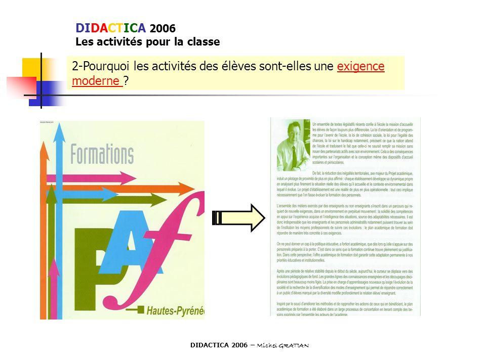 2-Pourquoi les activités des élèves sont-elles une exigence moderne ? DIDACTICA 2006 Les activités pour la classe DIDACTICA 2006 – Michel GRATIAN