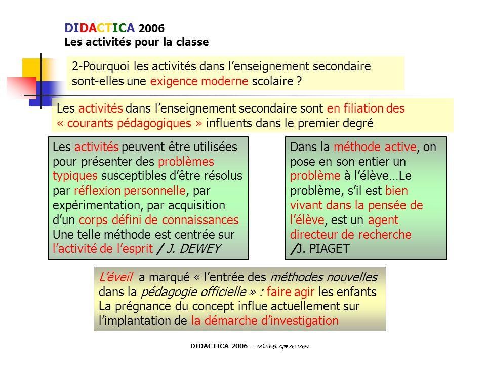 2-Pourquoi les activités dans lenseignement secondaire sont-elles une exigence moderne scolaire ? Les activités dans lenseignement secondaire sont en