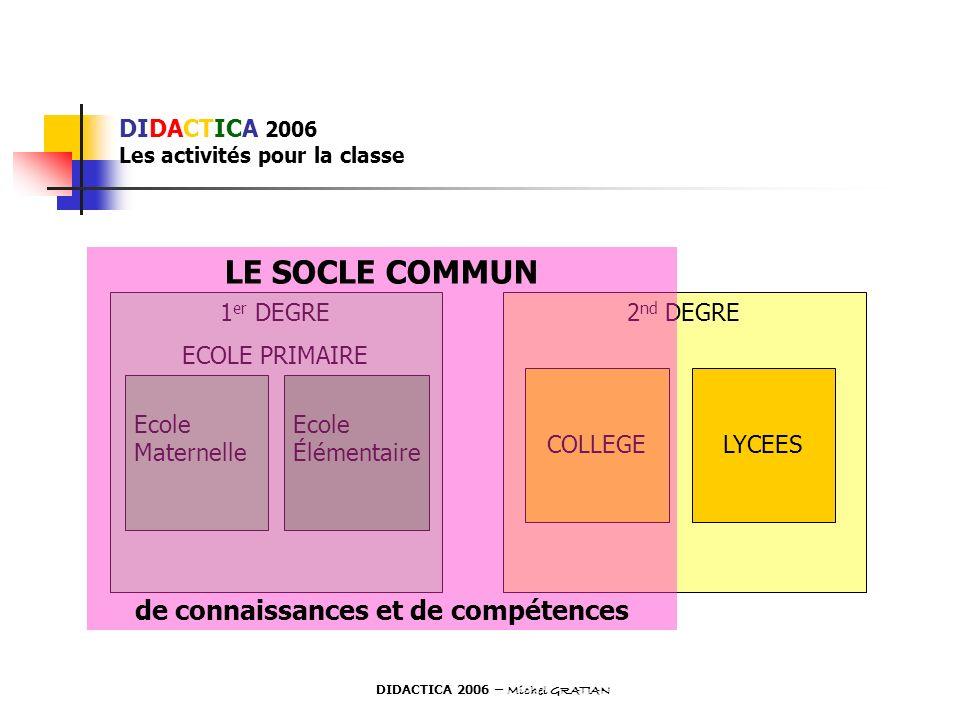 DIDACTICA 2006 Les activités pour la classe 1 er DEGRE ECOLE PRIMAIRE Ecole Maternelle Ecole Élémentaire 2 nd DEGRE COLLEGELYCEES LE SOCLE COMMUN de c