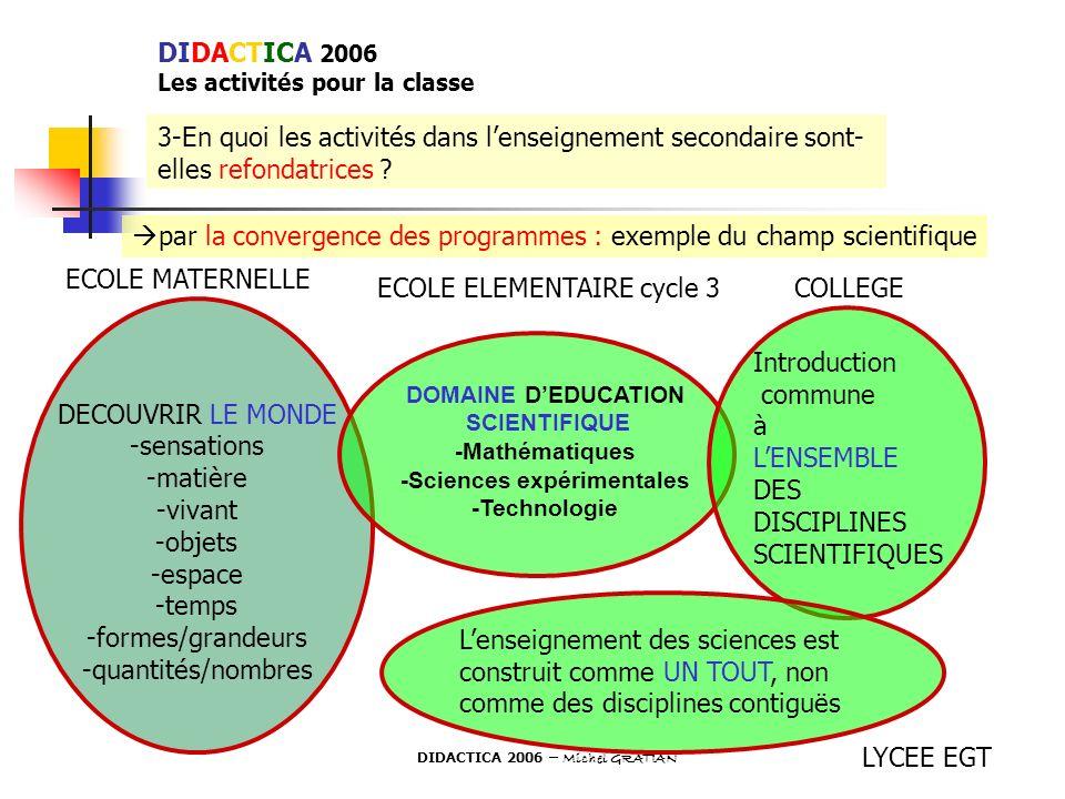3-En quoi les activités dans lenseignement secondaire sont- elles refondatrices ? par la convergence des programmes : exemple du champ scientifique EC