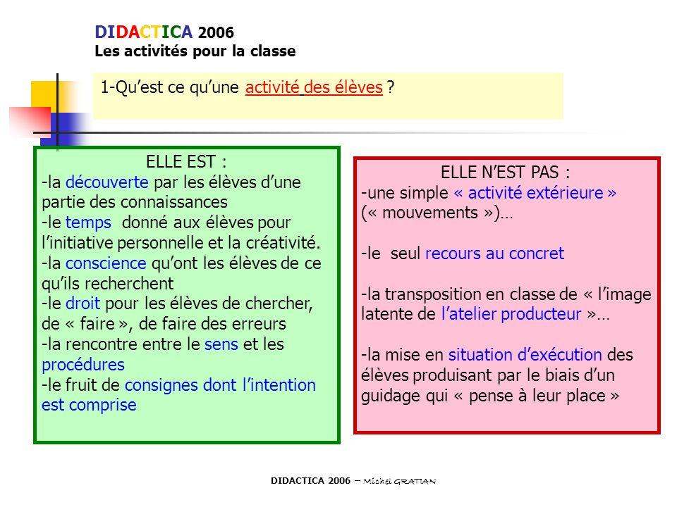 DIDACTICA 2006 Les activités pour la classe 1-Quest ce quune activité des élèves ? ELLE EST : -la découverte par les élèves dune partie des connaissan