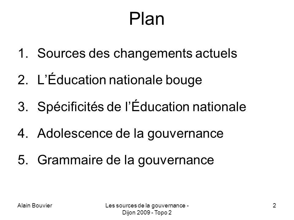 Alain BouvierLes sources de la gouvernance - Dijon 2009 - Topo 2 2 Plan 1.Sources des changements actuels 2.LÉducation nationale bouge 3.Spécificités de lÉducation nationale 4.Adolescence de la gouvernance 5.Grammaire de la gouvernance
