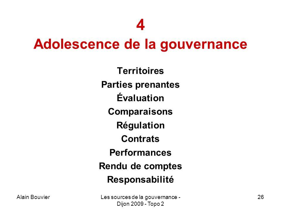 Alain BouvierLes sources de la gouvernance - Dijon 2009 - Topo 2 26 4 Adolescence de la gouvernance Territoires Parties prenantes Évaluation Comparaisons Régulation Contrats Performances Rendu de comptes Responsabilité