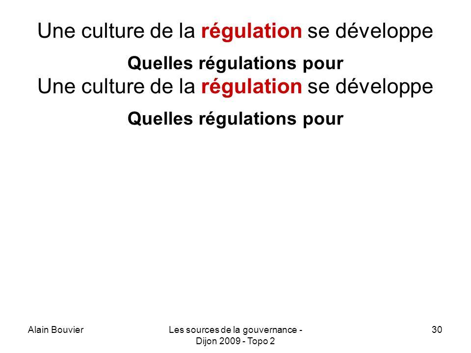 Alain BouvierLes sources de la gouvernance - Dijon 2009 - Topo 2 30 Une culture de la régulation se développe Quelles régulations pour