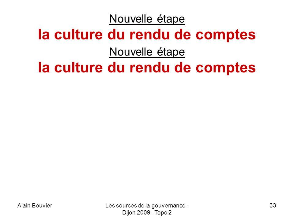 Alain BouvierLes sources de la gouvernance - Dijon 2009 - Topo 2 33 Nouvelle étape la culture du rendu de comptes