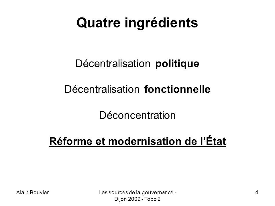 Alain BouvierLes sources de la gouvernance - Dijon 2009 - Topo 2 4 Quatre ingrédients Décentralisation politique Décentralisation fonctionnelle Déconcentration Réforme et modernisation de lÉtat