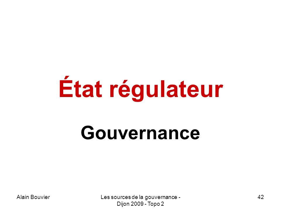 Alain BouvierLes sources de la gouvernance - Dijon 2009 - Topo 2 42 État régulateur Gouvernance