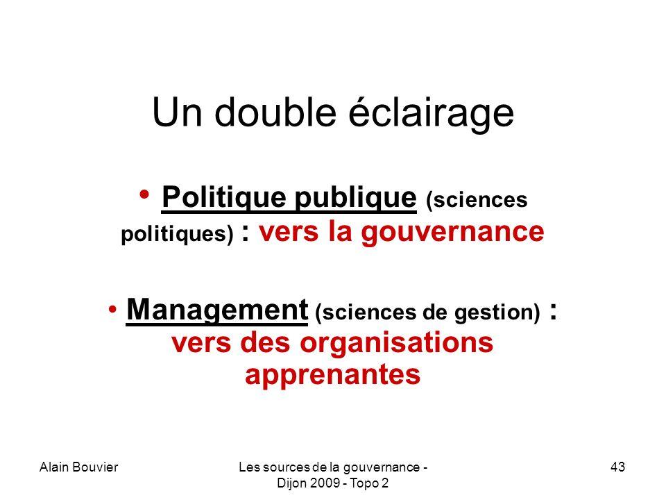Alain BouvierLes sources de la gouvernance - Dijon 2009 - Topo 2 43 Un double éclairage Politique publique (sciences politiques) : vers la gouvernance Management (sciences de gestion) : vers des organisations apprenantes