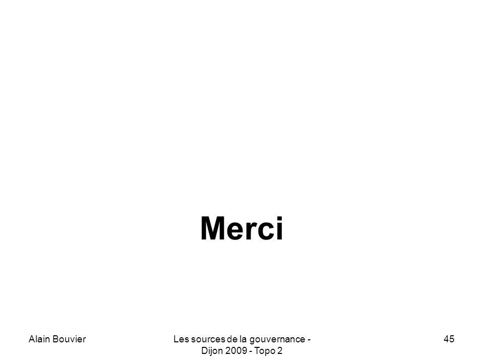 Alain BouvierLes sources de la gouvernance - Dijon 2009 - Topo 2 45 Merci