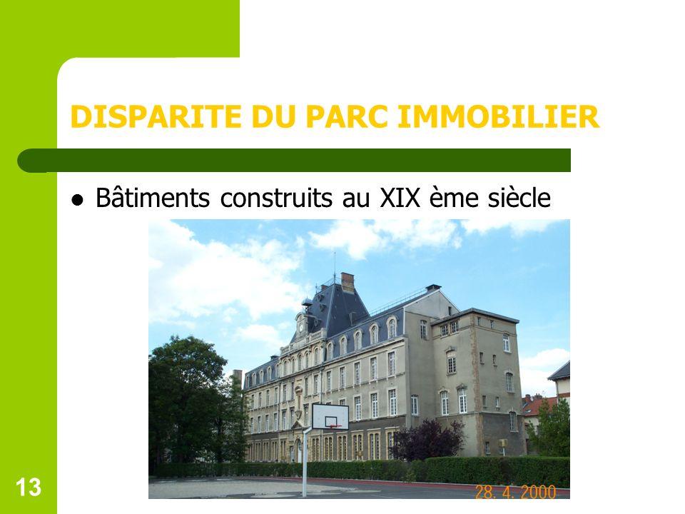13 DISPARITE DU PARC IMMOBILIER Bâtiments construits au XIX ème siècle