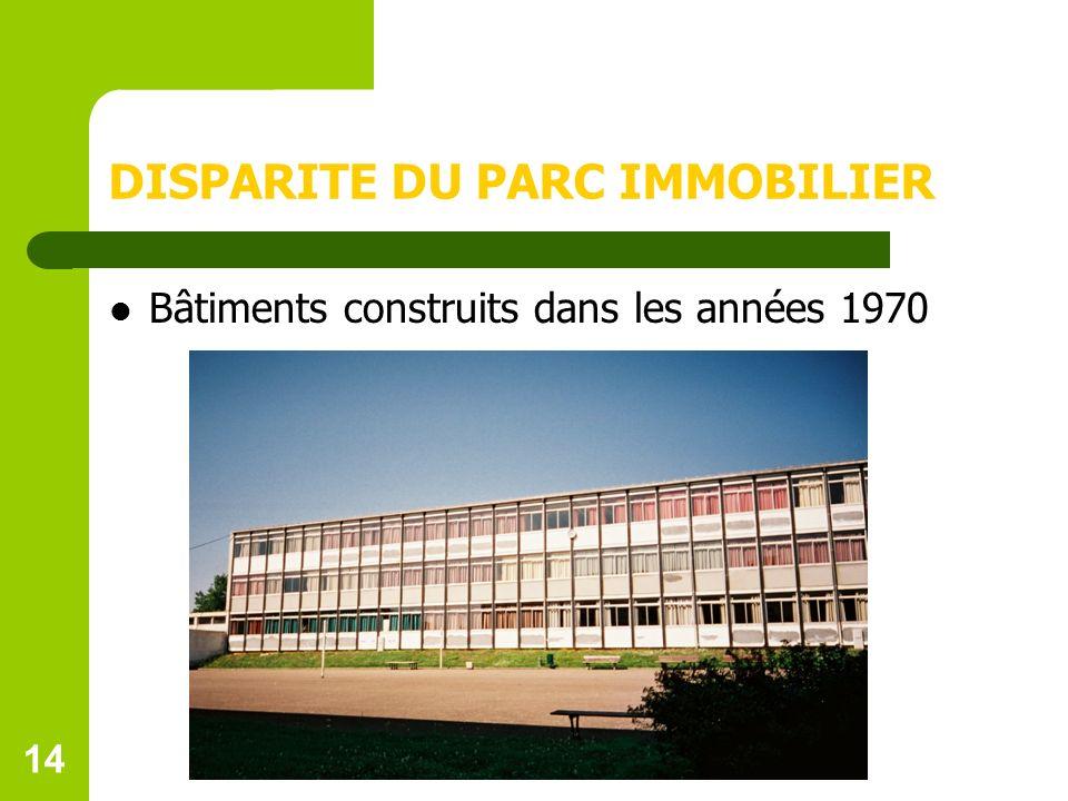 14 DISPARITE DU PARC IMMOBILIER Bâtiments construits dans les années 1970