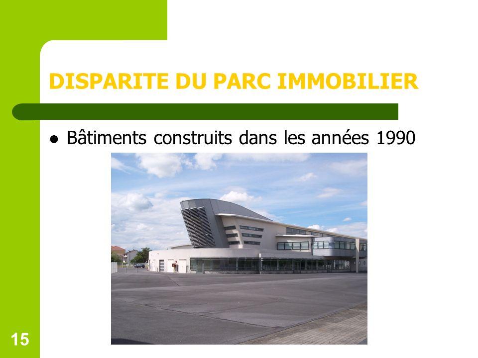 15 DISPARITE DU PARC IMMOBILIER Bâtiments construits dans les années 1990