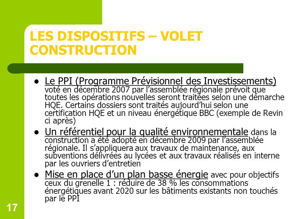 17 LES DISPOSITIFS – VOLET CONSTRUCTION Le PPI (Programme Prévisionnel des Investissements) voté en décembre 2007 par lassemblée régionale prévoit que toutes les opérations nouvelles seront traitées selon une démarche HQE.
