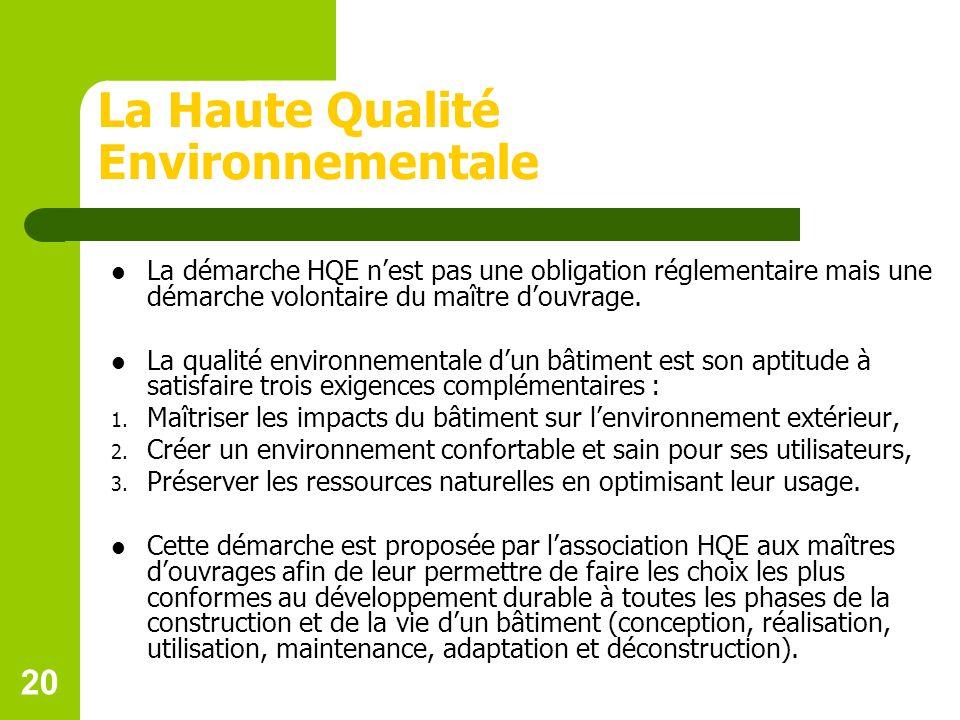 20 La Haute Qualité Environnementale La démarche HQE nest pas une obligation réglementaire mais une démarche volontaire du maître douvrage.