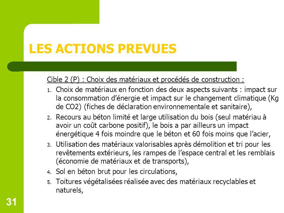 31 LES ACTIONS PREVUES Cible 2 (P) : Choix des matériaux et procédés de construction : 1.