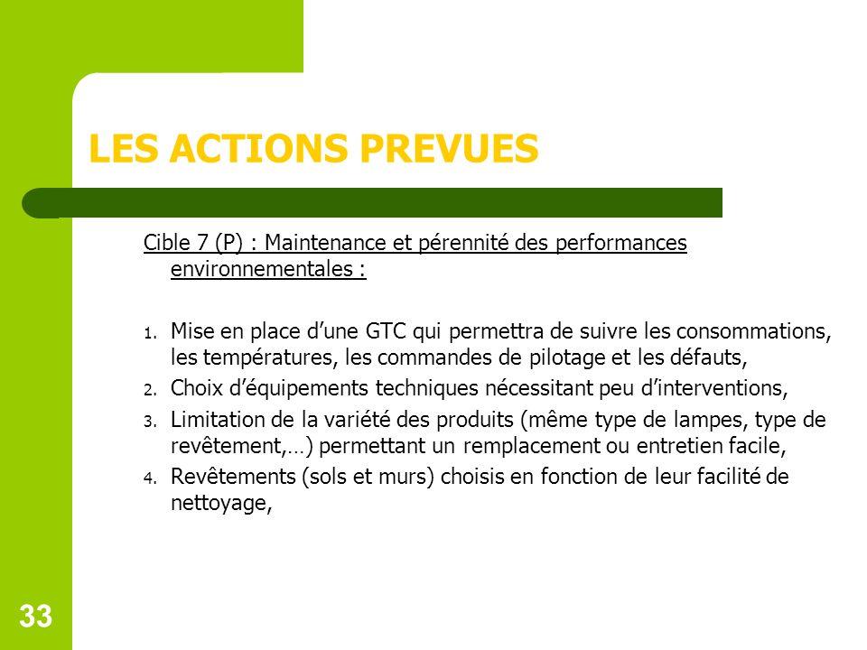 33 LES ACTIONS PREVUES Cible 7 (P) : Maintenance et pérennité des performances environnementales : 1.