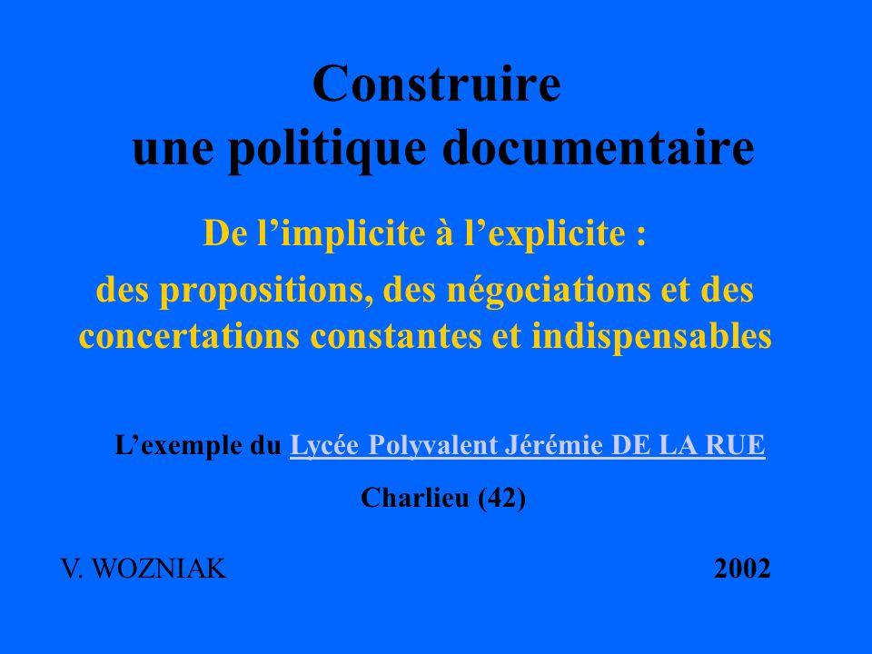 Construire une politique documentaire De limplicite à lexplicite : des propositions, des négociations et des concertations constantes et indispensable