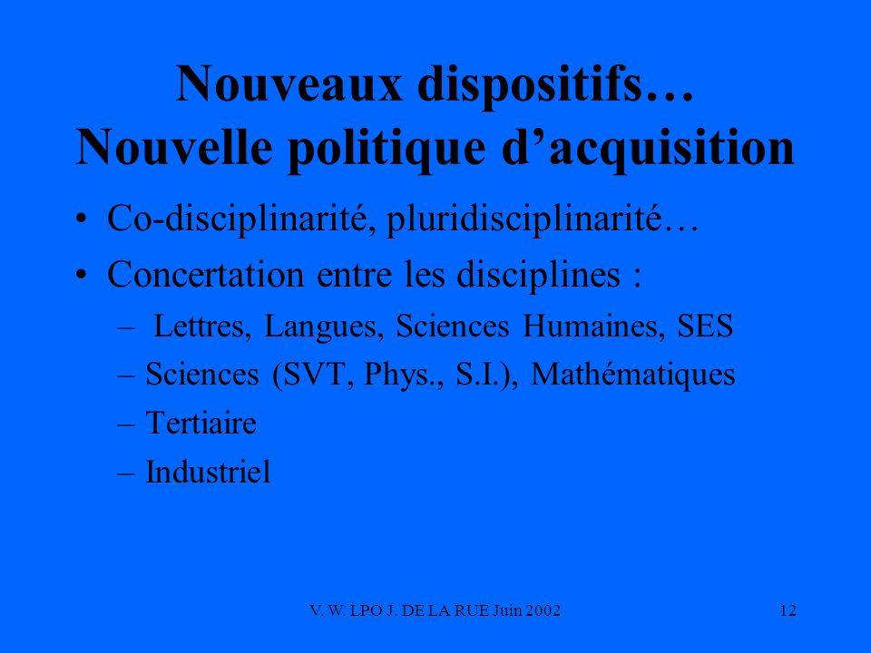 V. W. LPO J. DE LA RUE Juin 200212 Nouveaux dispositifs… Nouvelle politique dacquisition Co-disciplinarité, pluridisciplinarité… Concertation entre le
