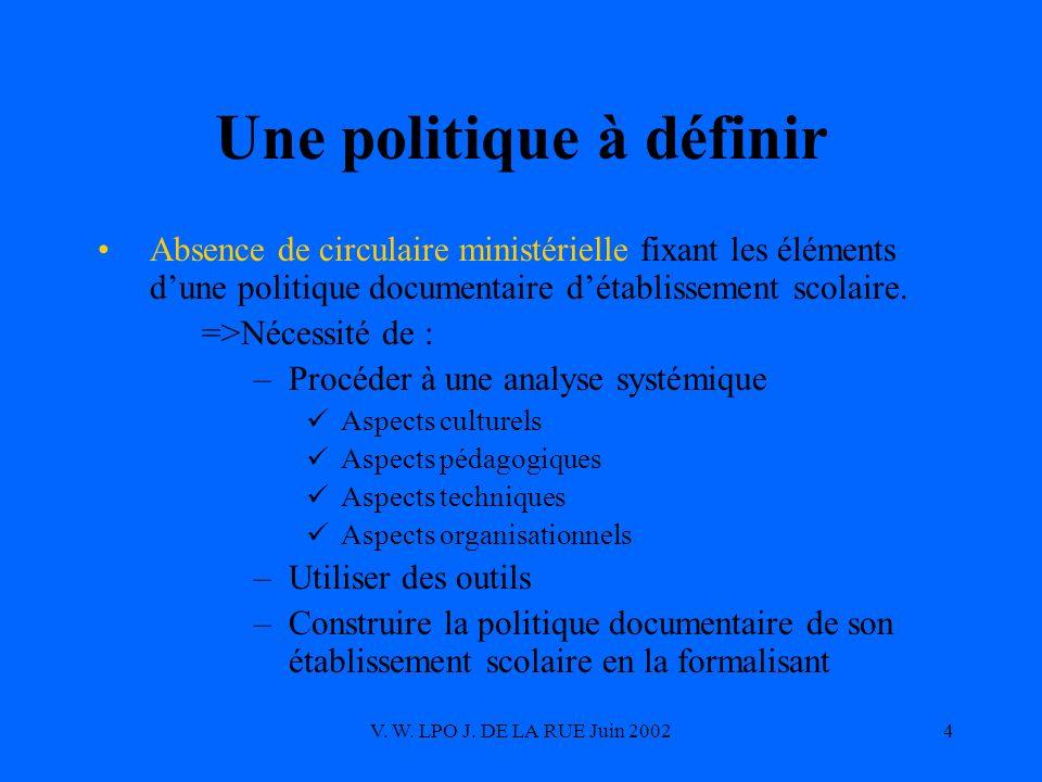 V. W. LPO J. DE LA RUE Juin 20024 Une politique à définir Absence de circulaire ministérielle fixant les éléments dune politique documentaire détablis