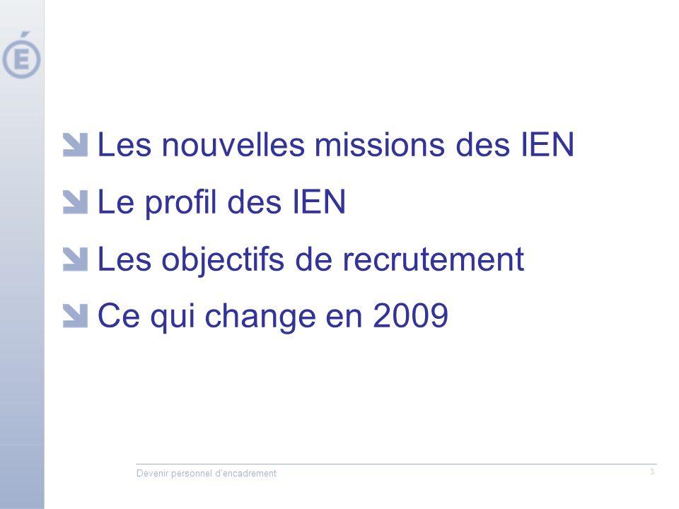 Devenir personnel d'encadrement 3 Les nouvelles missions des IEN Le profil des IEN Les objectifs de recrutement Ce qui change en 2009