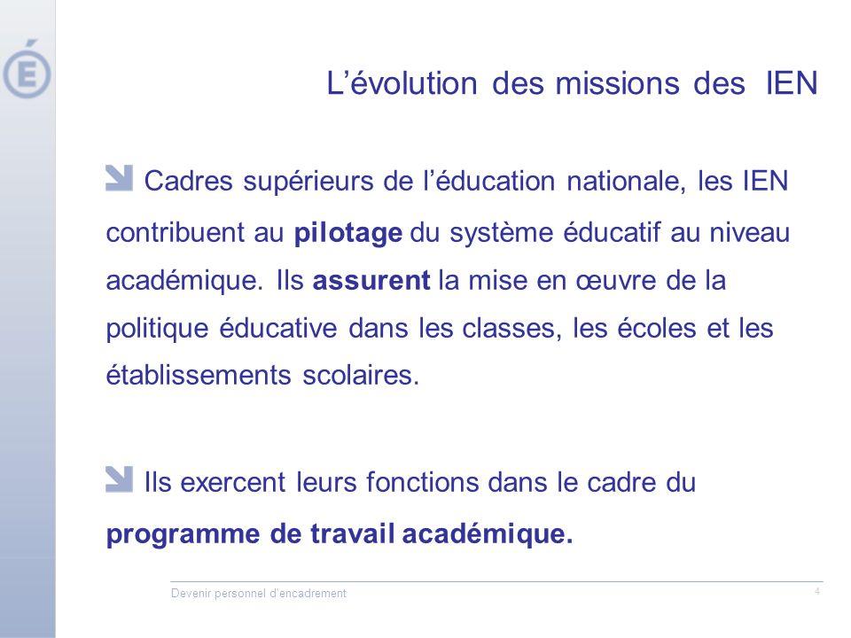 Devenir personnel d'encadrement 4 Cadres supérieurs de léducation nationale, les IEN contribuent au pilotage du système éducatif au niveau académique.