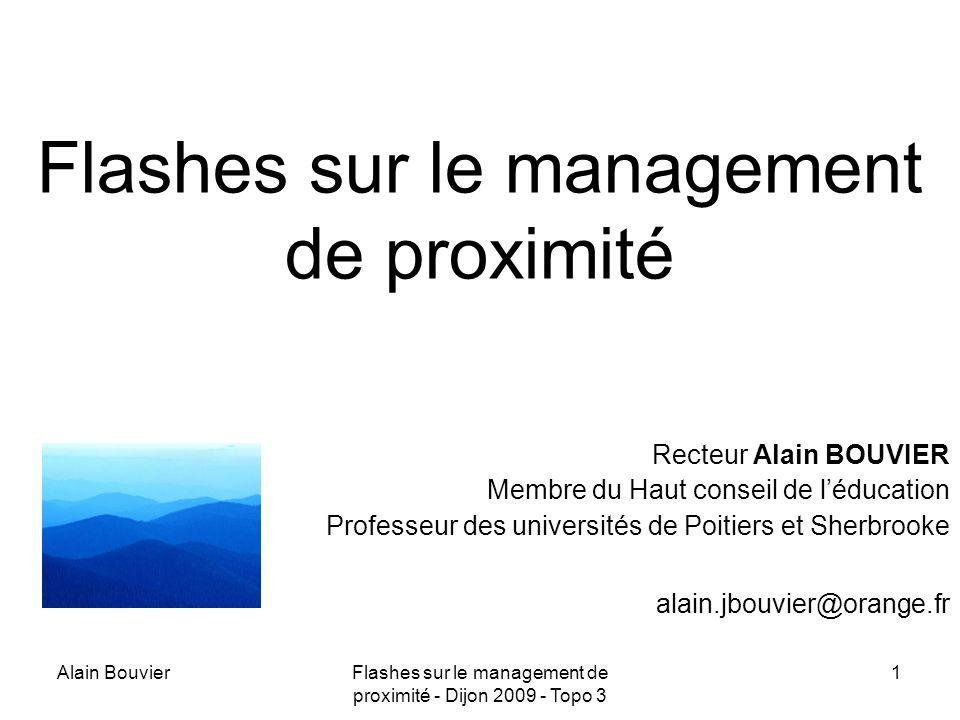 Alain BouvierFlashes sur le management de proximité - Dijon 2009 - Topo 3 2 Multi décisionnaires Multi niveaux Évolutifs Opacité des processus de prise de décision Besoins de régulations Au sein de systèmes complexes