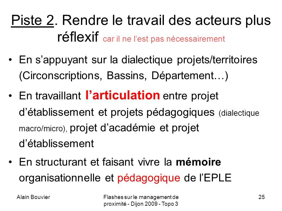 Alain BouvierFlashes sur le management de proximité - Dijon 2009 - Topo 3 26 Piste 3.