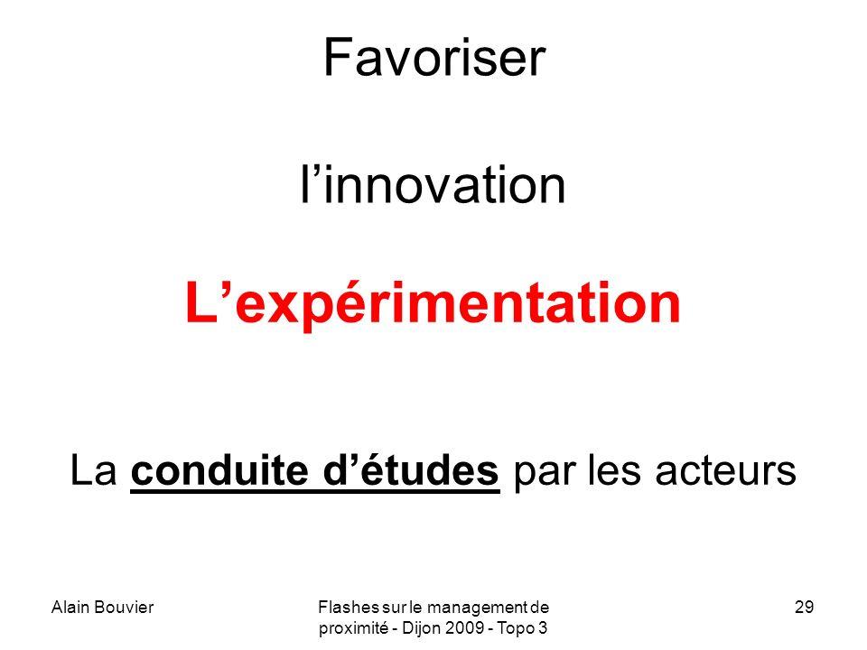 Alain BouvierFlashes sur le management de proximité - Dijon 2009 - Topo 3 30 Encourager le travail en miroir : Pour les individus (« ami critique ») Pour les équipes Pour les EPLE, les bassins, etc.
