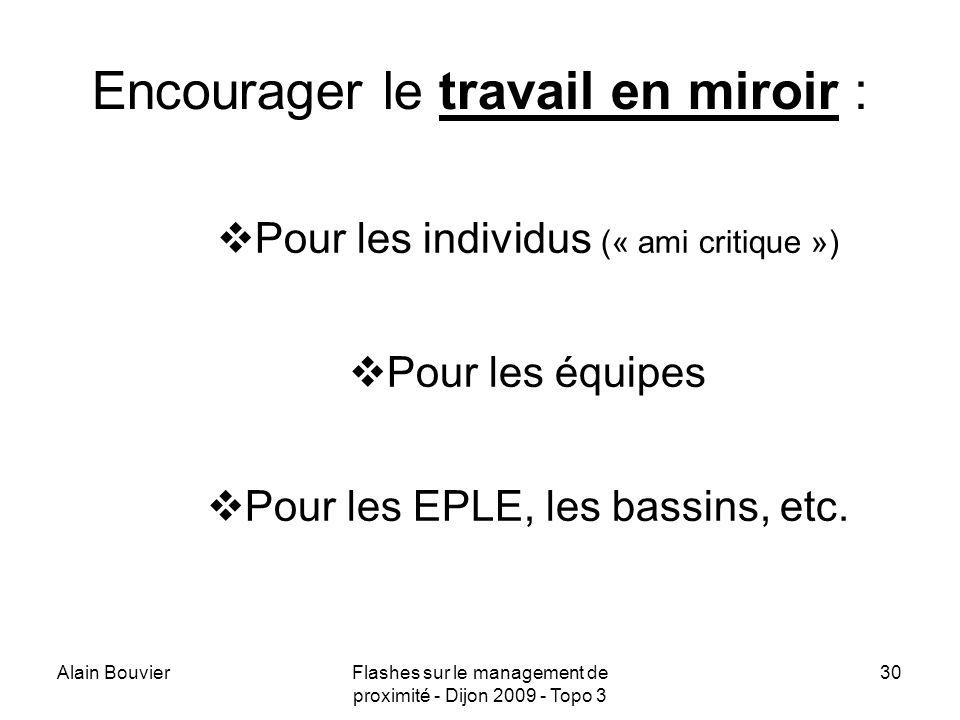 Alain BouvierFlashes sur le management de proximité - Dijon 2009 - Topo 3 31 Une piste pour les bassins