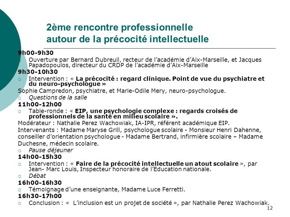 12 2ème rencontre professionnelle autour de la précocité intellectuelle 9h00-9h30 Ouverture par Bernard Dubreuil, recteur de lacadémie dAix-Marseille,