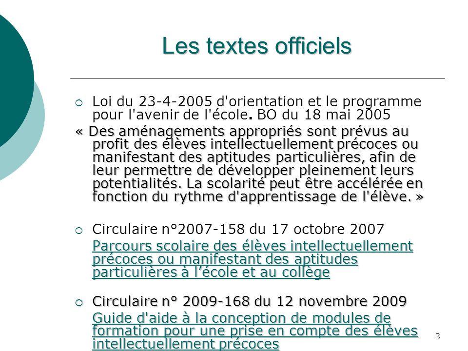 3 Les textes officiels Loi du 23-4-2005 d'orientation et le programme pour l'avenir de l'école. BO du 18 mai 2005 « Des aménagements appropriés sont p