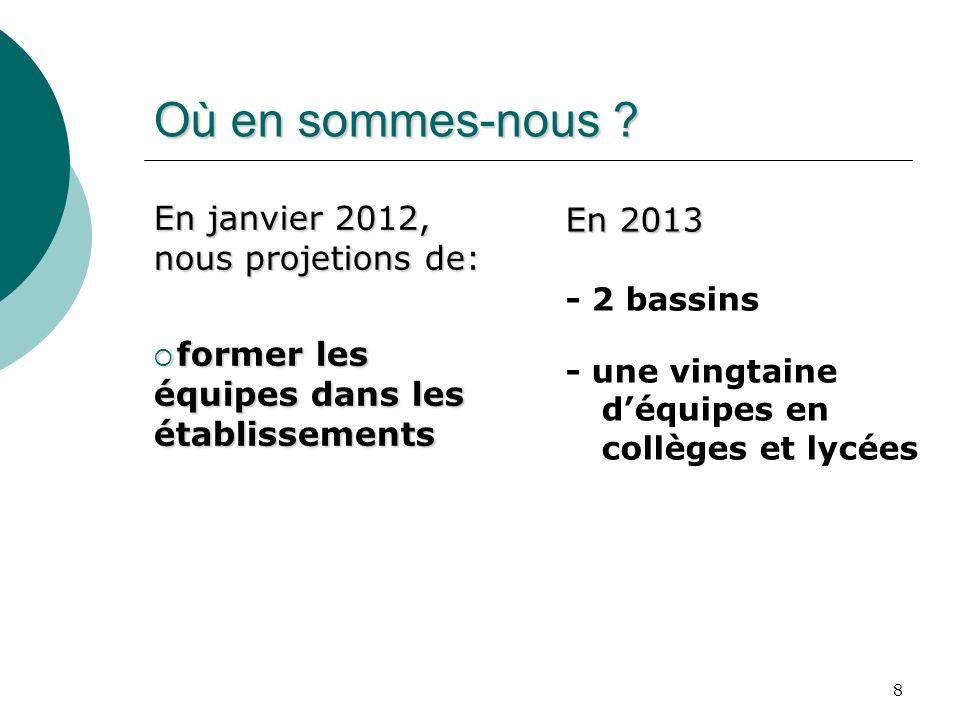 8 Où en sommes-nous ? En janvier 2012, nous projetions de: former les équipes dans les établissements former les équipes dans les établissements En 20