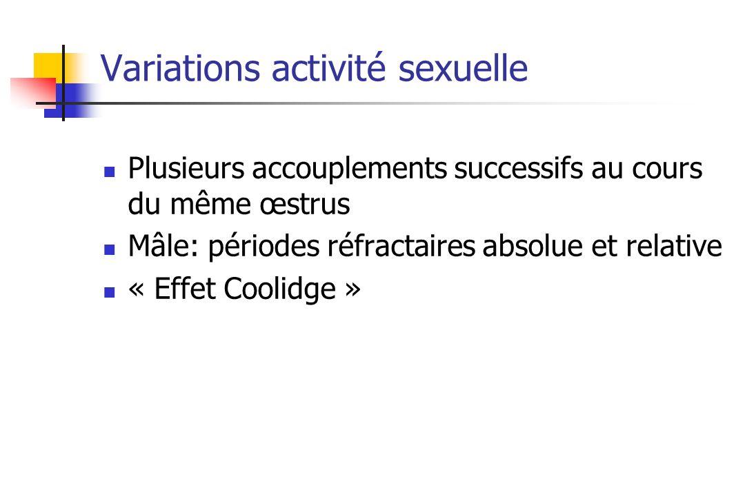 Variations activité sexuelle Plusieurs accouplements successifs au cours du même œstrus Mâle: périodes réfractaires absolue et relative « Effet Coolid
