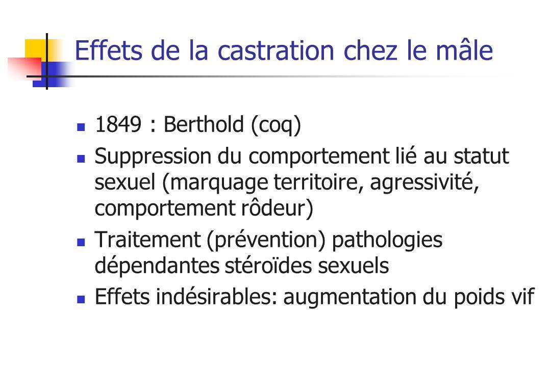 Effets de la castration chez le mâle 1849 : Berthold (coq) Suppression du comportement lié au statut sexuel (marquage territoire, agressivité, comport