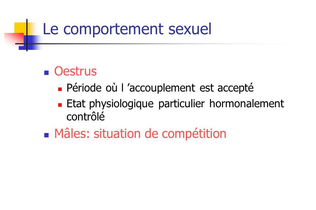 Le comportement sexuel Oestrus Période où l accouplement est accepté Etat physiologique particulier hormonalement contrôlé Mâles: situation de compéti